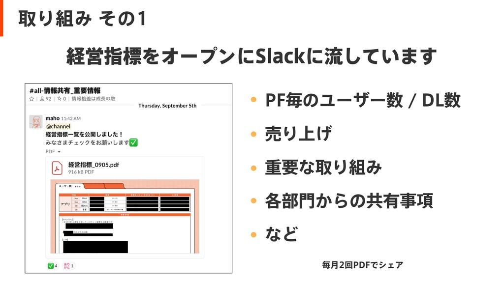 取り組み その1 経営指標をオープンにSlackに流しています PF毎のユーザー数 / DL...
