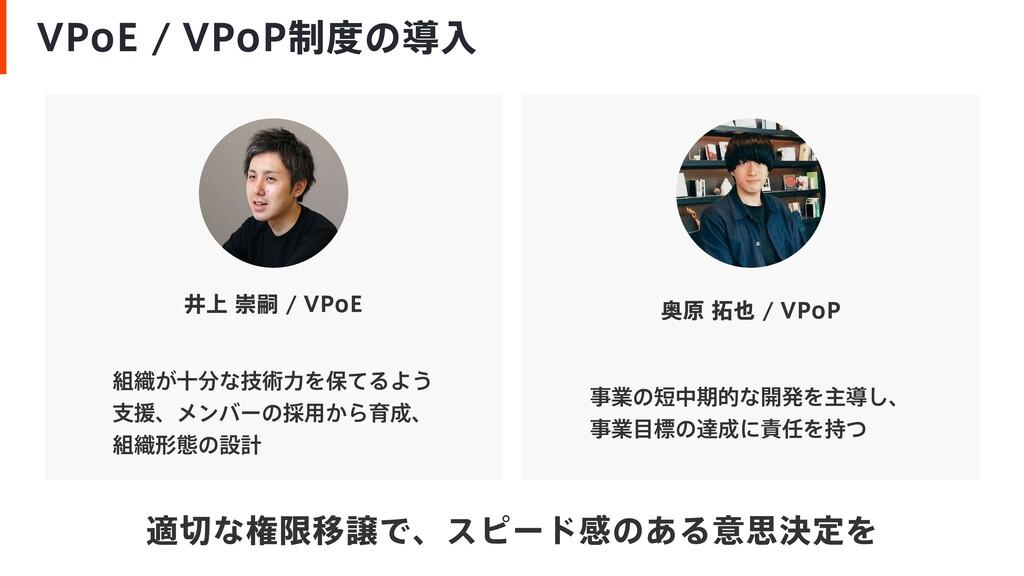 VPoE / VPoP制度の導入 井上 崇嗣 / VPoE 組織が十分な技術力を保てるよう 支...