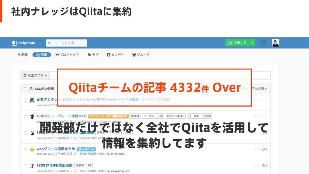 開発部だけではなく全社でQiitaを活用して  情報を集約してます Qiitaチームの記事 4...