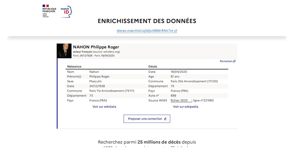 RÉPUBLIQUE FRANÇAISE ENRICHISSEMENT DES DONNÉES...
