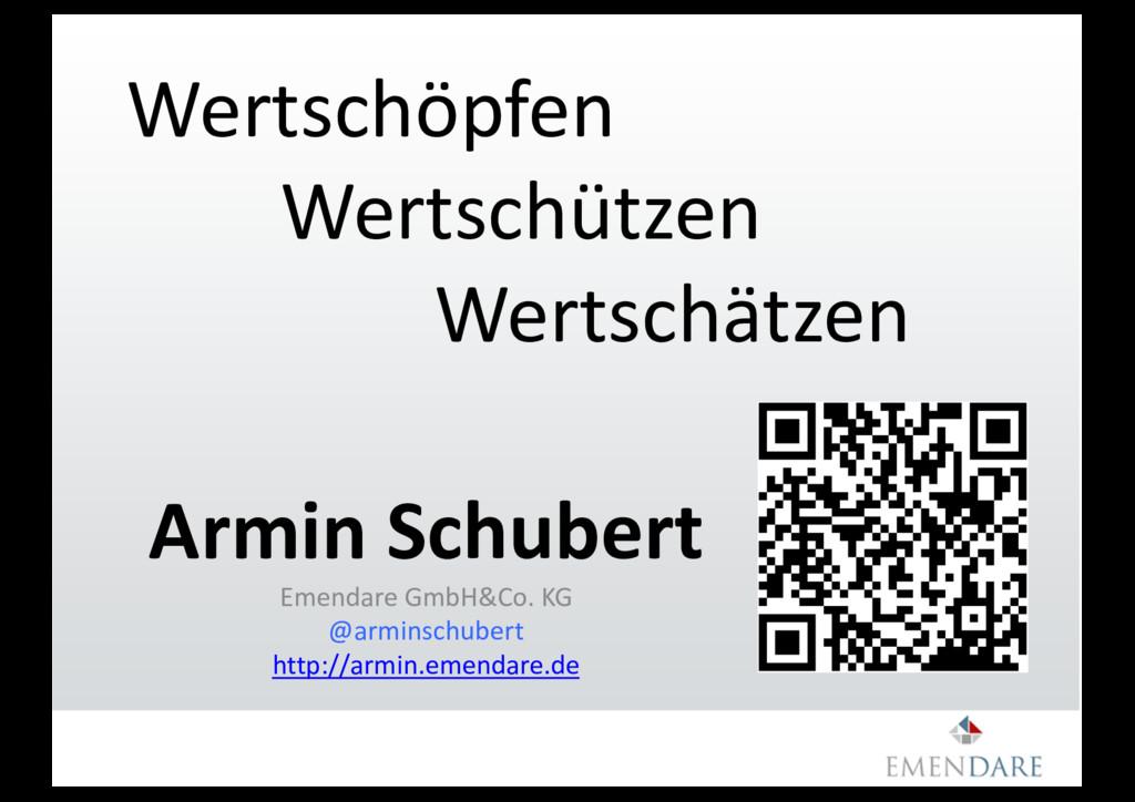 Wertschöpfen Wertschützen Wertschätzen Armin Sc...