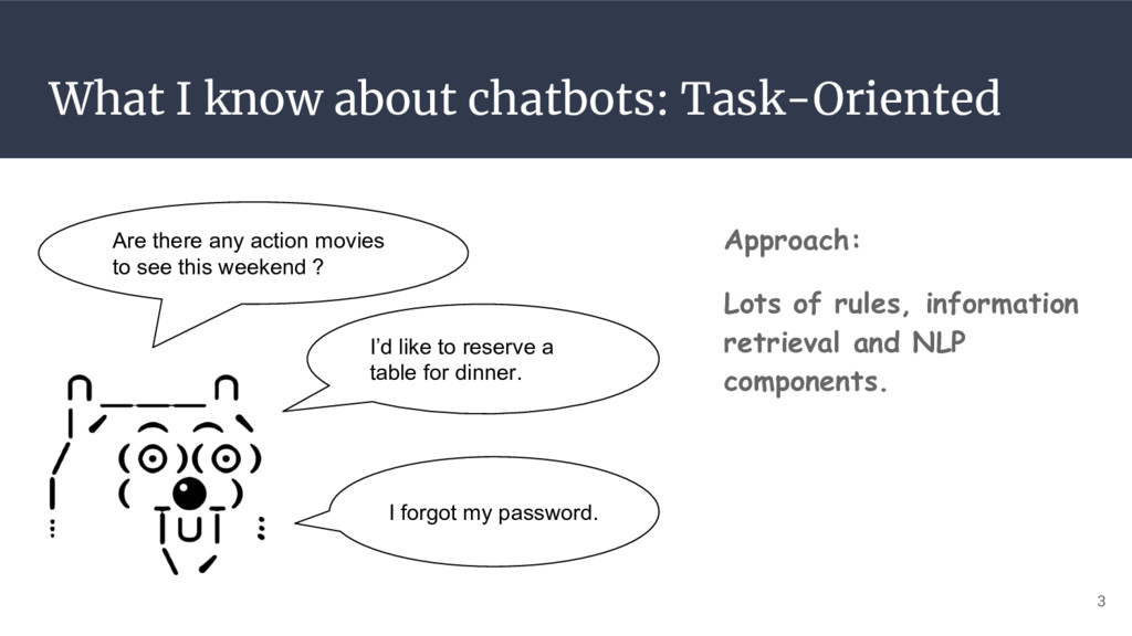 What I know about chatbots: Task-Oriented Appro...