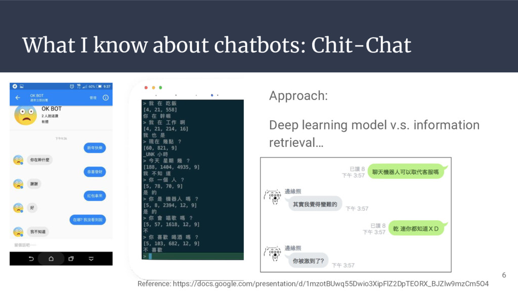 What I know about chatbots: Chit-Chat Approach:...