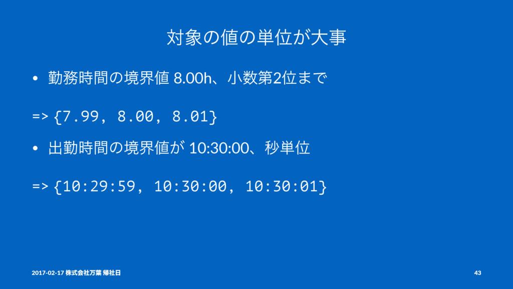 ରͷͷ୯Ґ͕େ • ۈؒͷڥք 8.00hɺখୈ2Ґ·Ͱ => {7.99, 8...