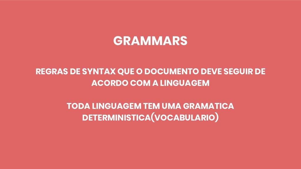 GRAMMARS REGRAS DE SYNTAX QUE O DOCUMENTO DEVE ...