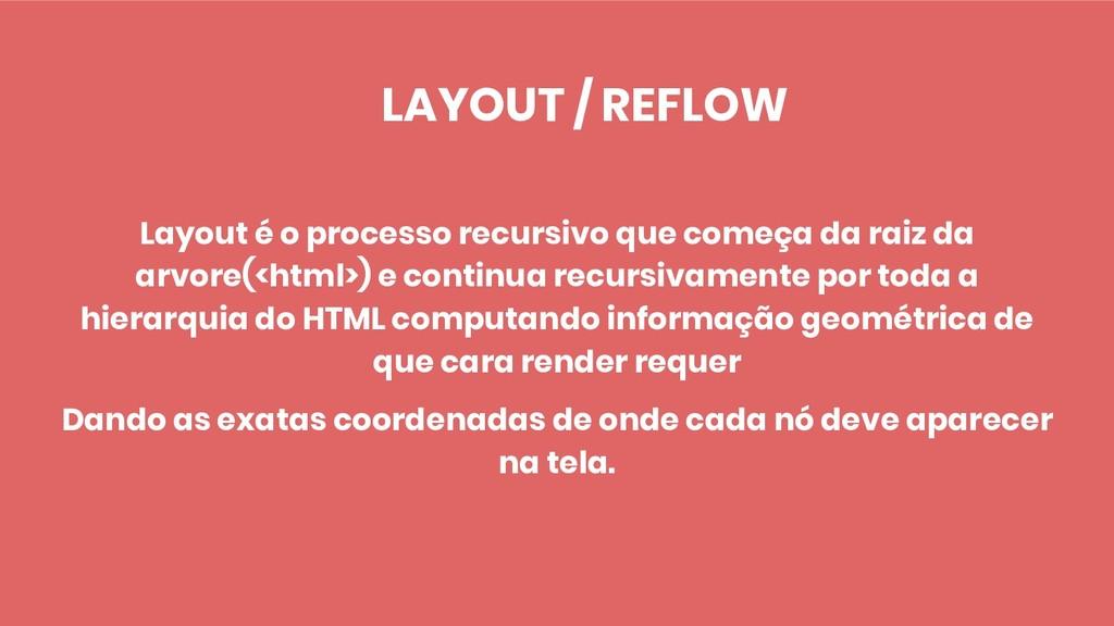 LAYOUT / REFLOW Layout é o processo recursivo q...