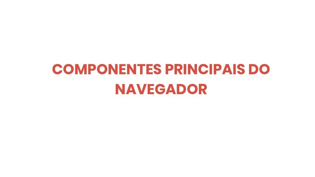 COMPONENTES PRINCIPAIS DO NAVEGADOR
