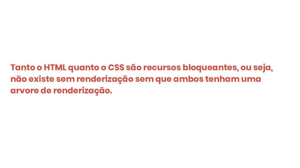 Tanto o HTML quanto o CSS são recursos bloquean...