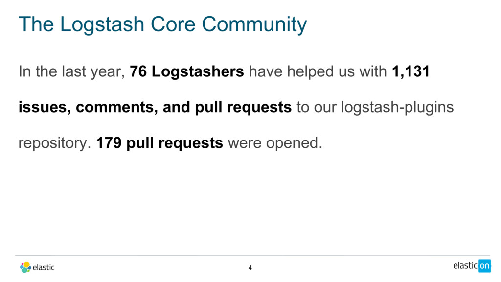 In the last year, 76 Logstashers have helped us...