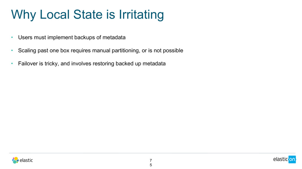 • Users must implement backups of metadata • Sc...