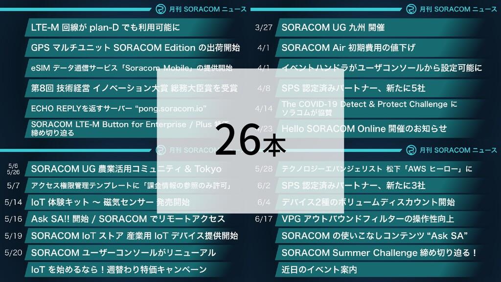 SORACOM アップデート 26本