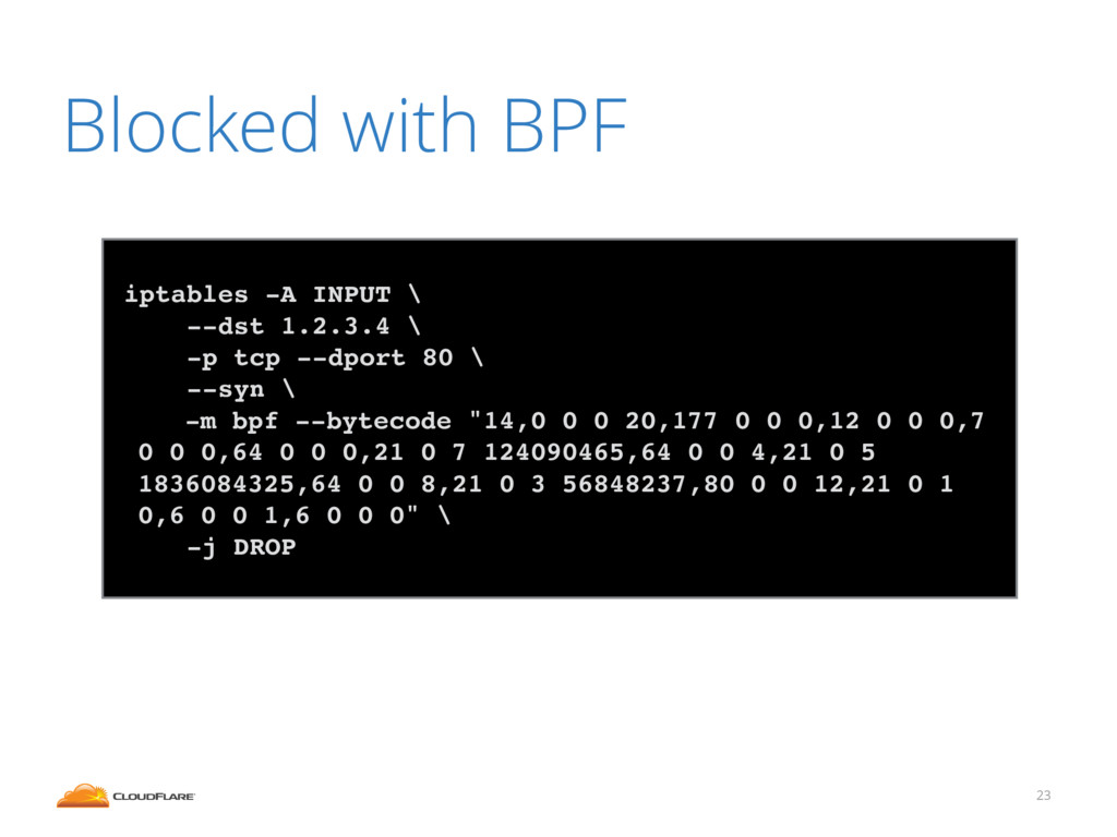 Blocked with BPF 23 iptables -A INPUT \ --dst 1...