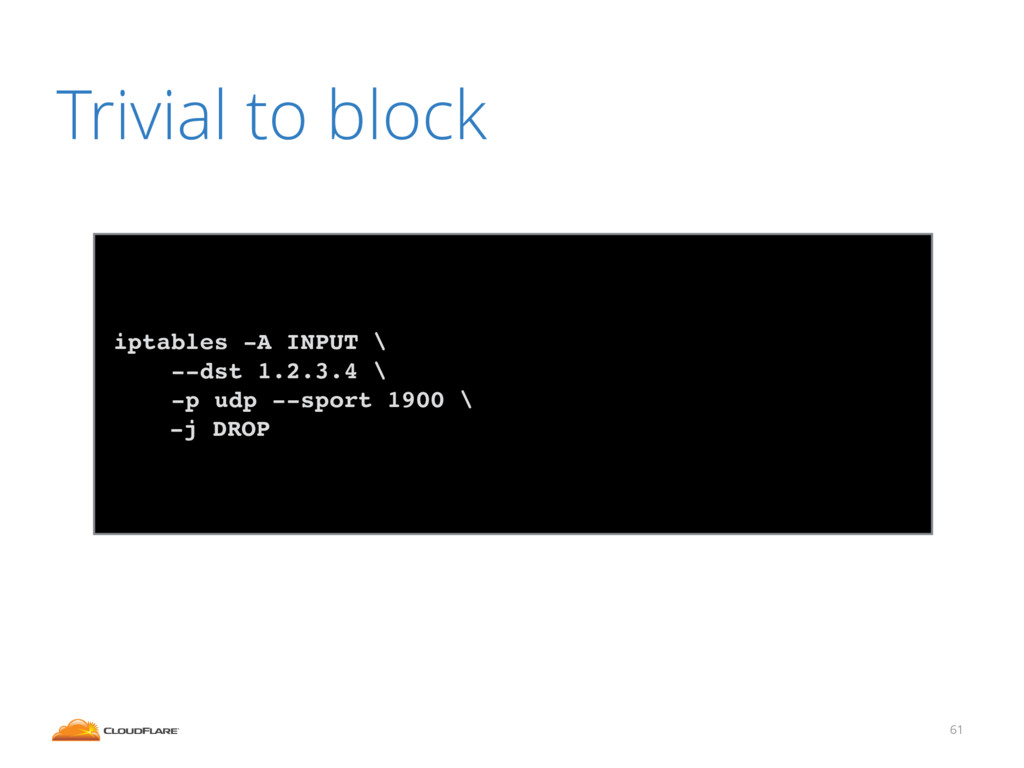 61 Trivial to block iptables -A INPUT \ --dst 1...