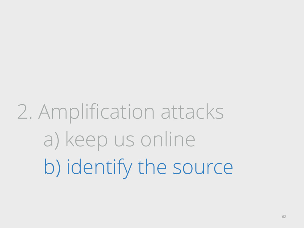 2. Amplification attacks a) keep us online b) id...