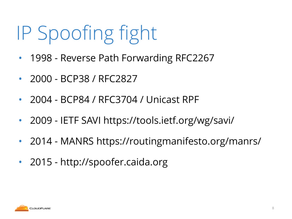 IP Spoofing fight • 1998 - Reverse Path Forwardin...