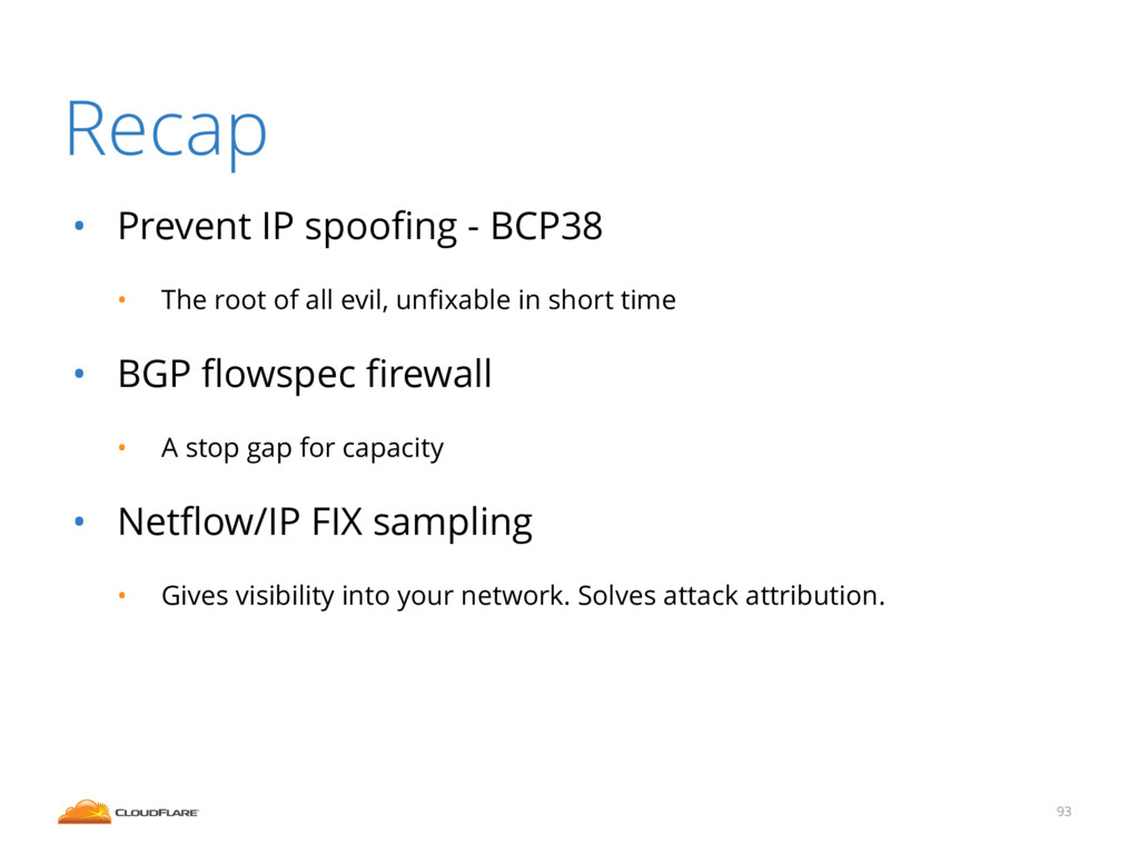 Recap • Prevent IP spoofing - BCP38 • The root o...