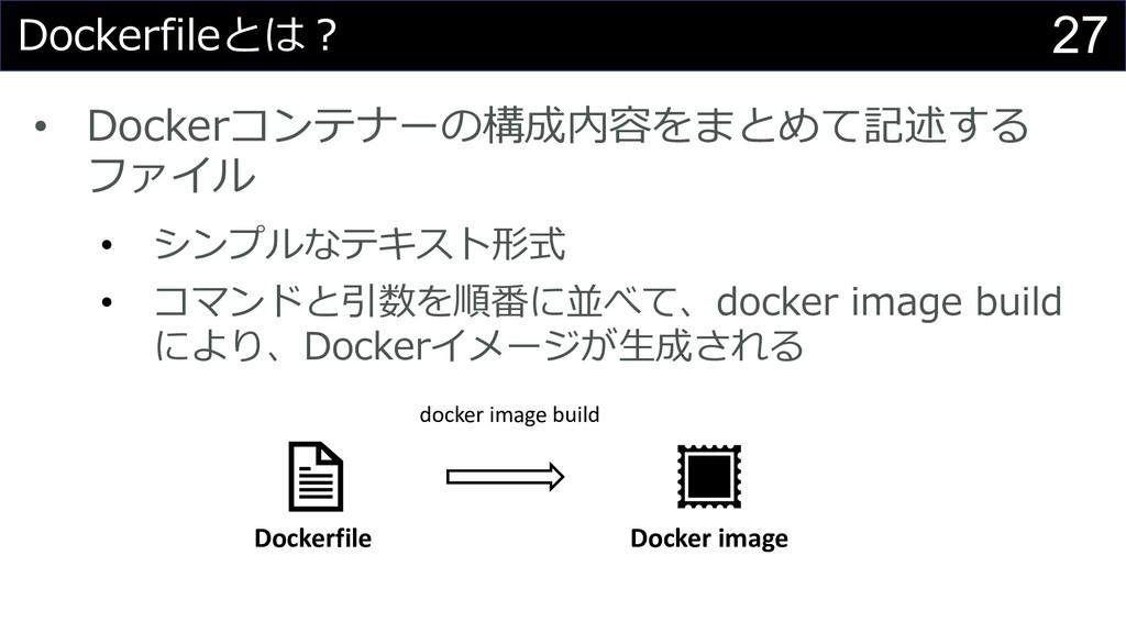 27 • D • • a D docker image build Dockerfile Do...