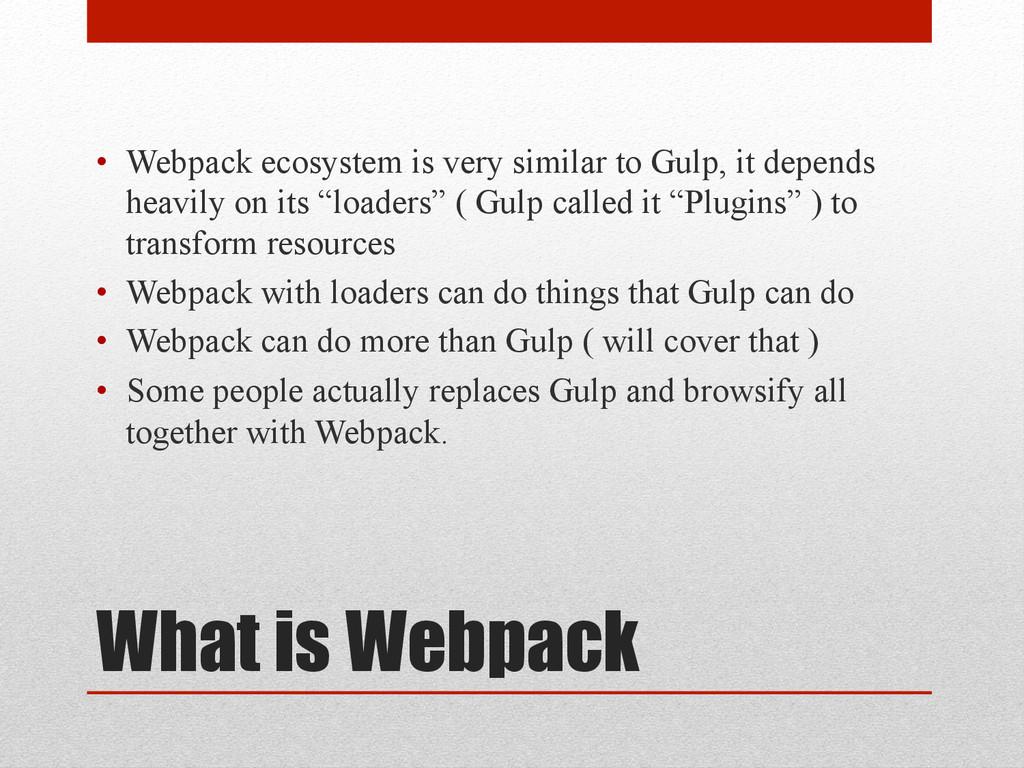 What is Webpack • Webpack ecosystem is very si...