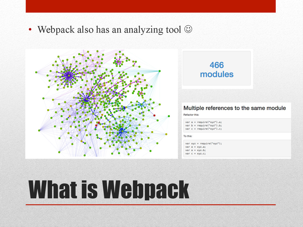 What is Webpack • Webpack also has an analyzin...