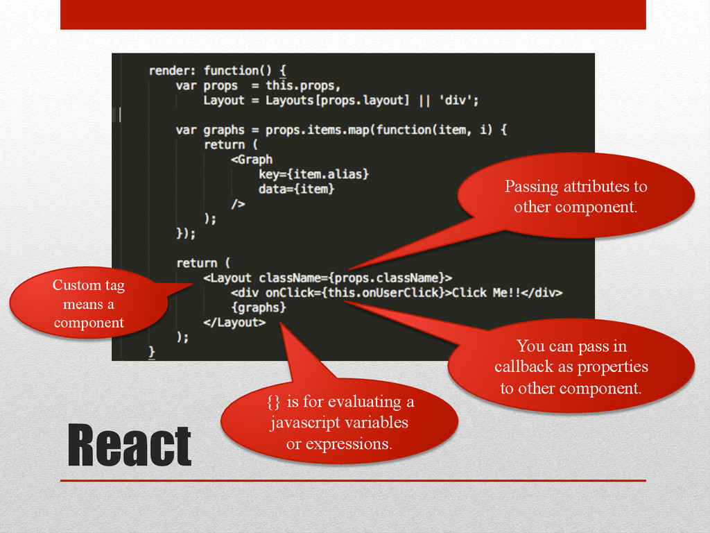 React {} is for evaluating a javascript variabl...