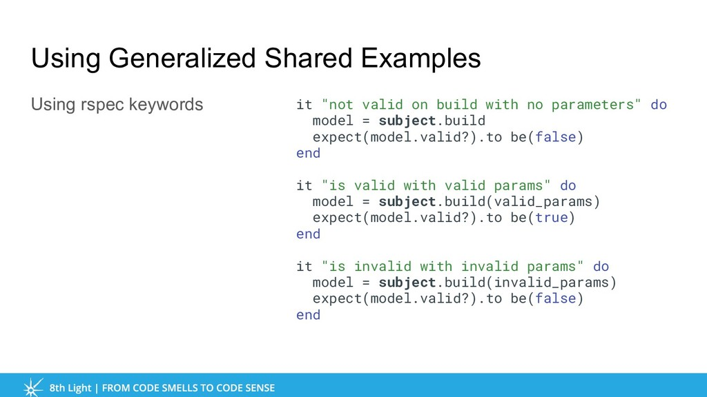 Using Generalized Shared Examples Using rspec k...