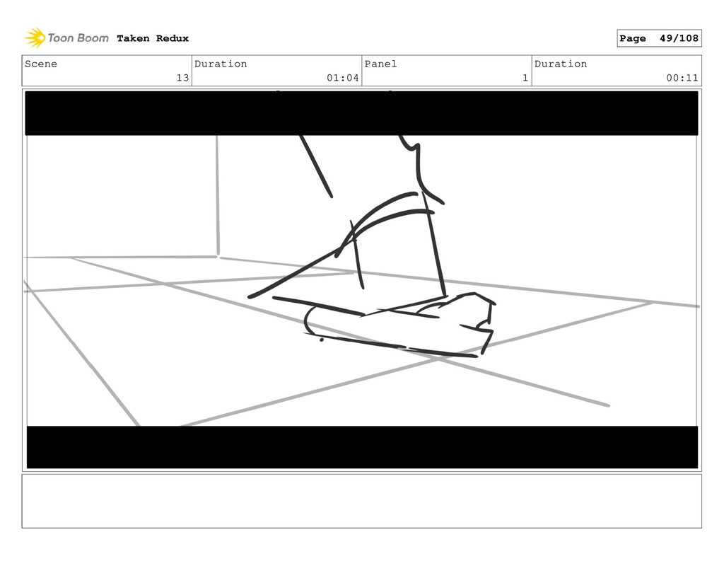 Scene 13 Duration 01:04 Panel 1 Duration 00:11 ...