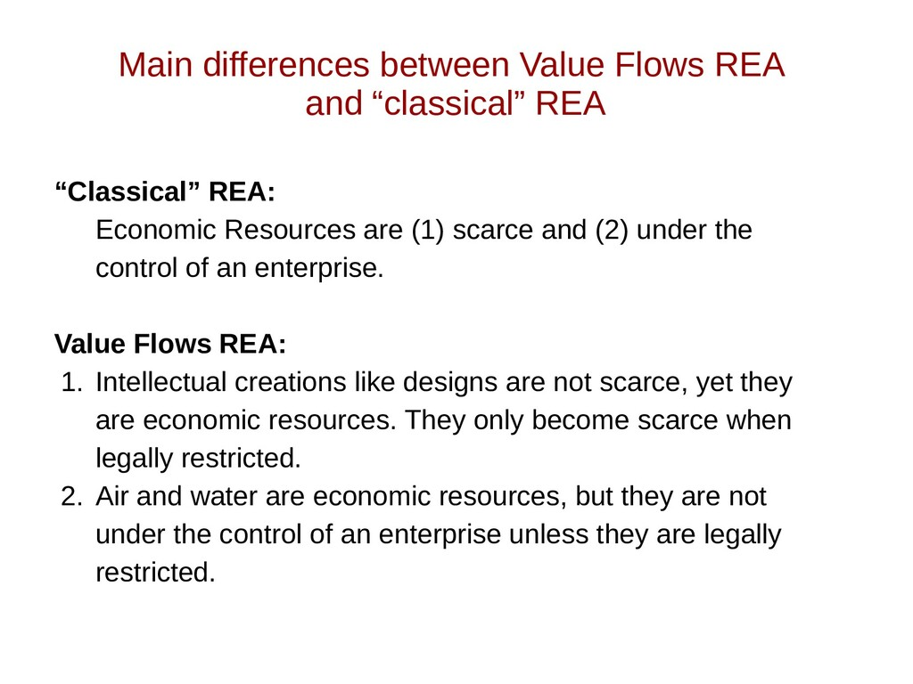 """Main differences between Value Flows REA and """"c..."""
