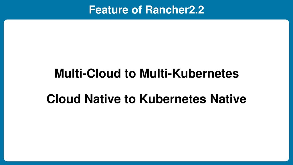 Feature of Rancher2.2 Multi-Cloud to Multi-Kube...