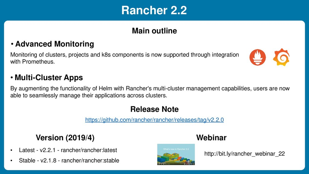 Rancher 2.2 • Advanced Monitoring Main outline ...