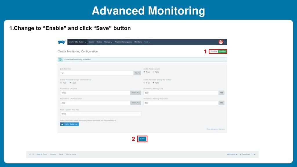 """Advanced Monitoring 1.Change to """"Enable"""" and cl..."""