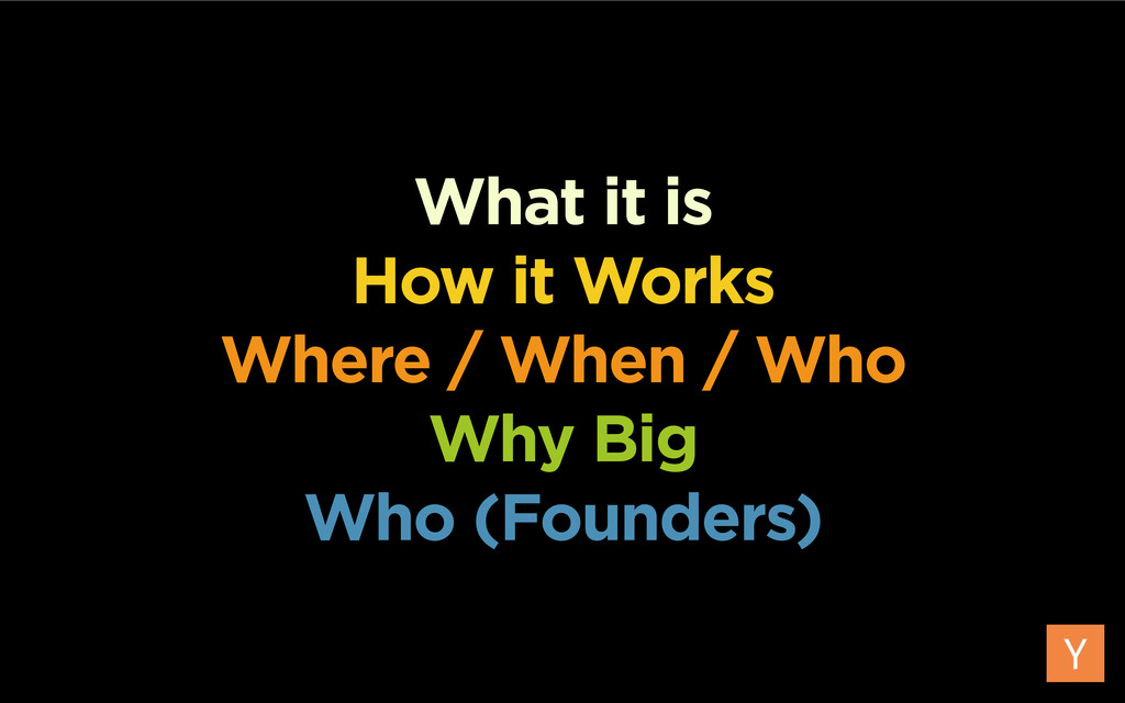 What it is How it Works Where / When / Who Why ...