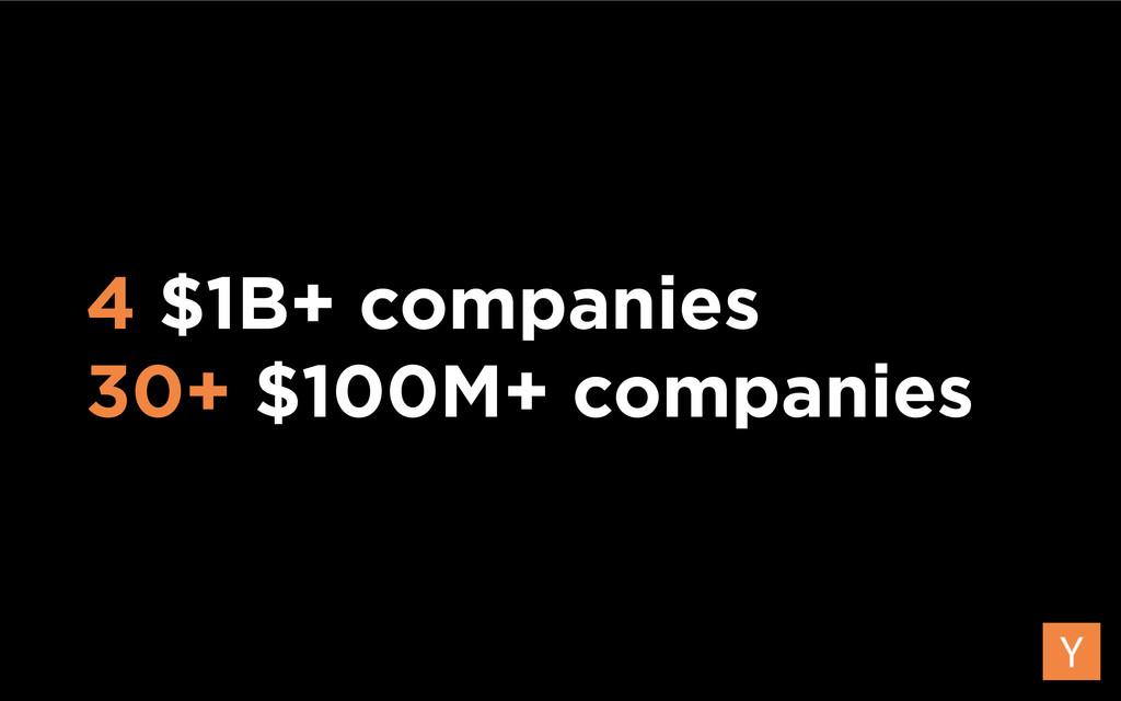 4 $1B+ companies 30+ $100M+ companies