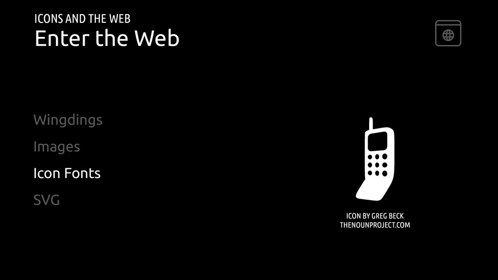 ICONS AND THE WEB Enter the Web Wingdings Image...