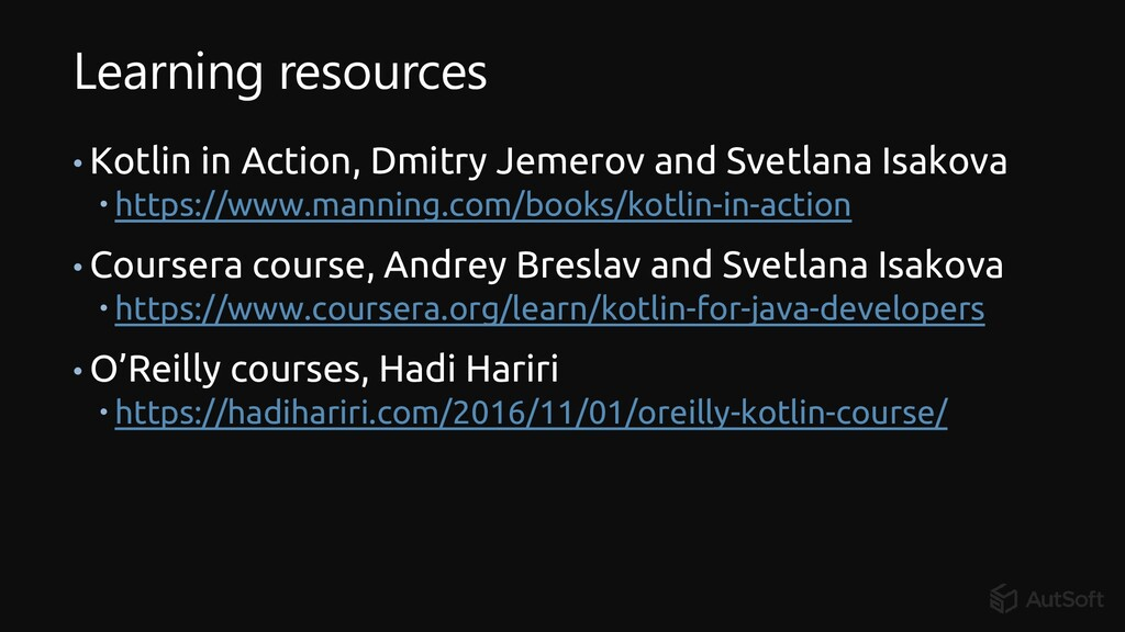 Learning resources • Kotlin in Action, Dmitry J...