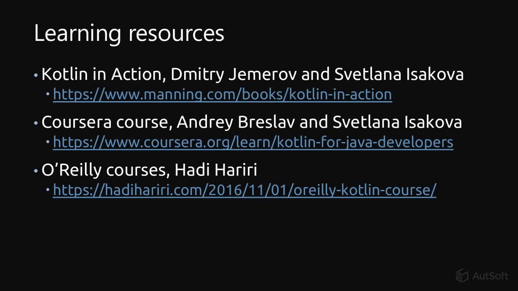 Learning resources • Kotlin in Action, Dmitry J...