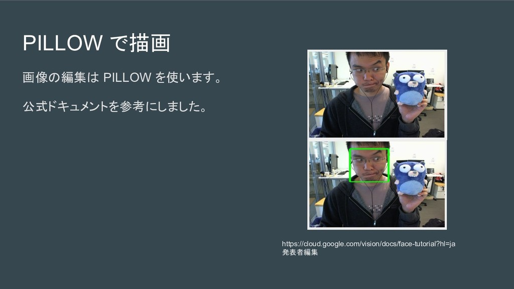 PILLOW で描画 画像の編集は PILLOW を使います。 公式ドキュメントを参考にしまし...