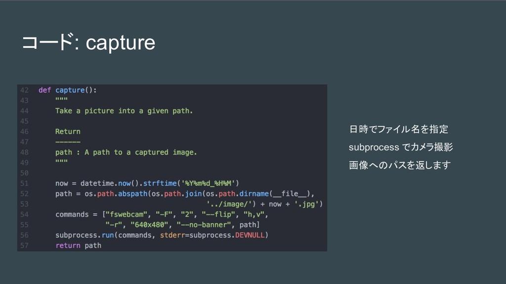 コード: capture 日時でファイル名を指定 subprocess でカメラ撮影 画像への...