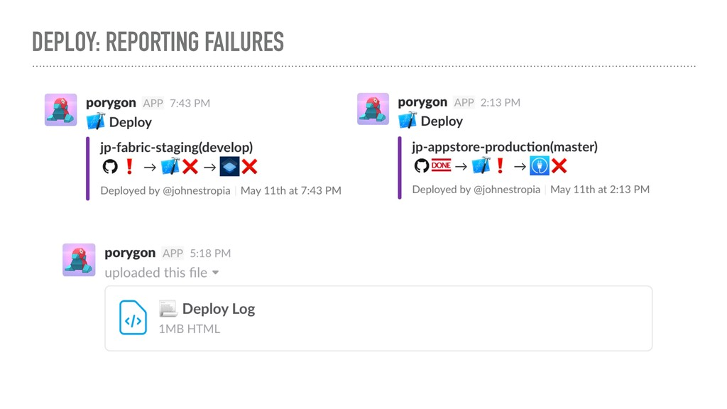 DEPLOY: REPORTING FAILURES