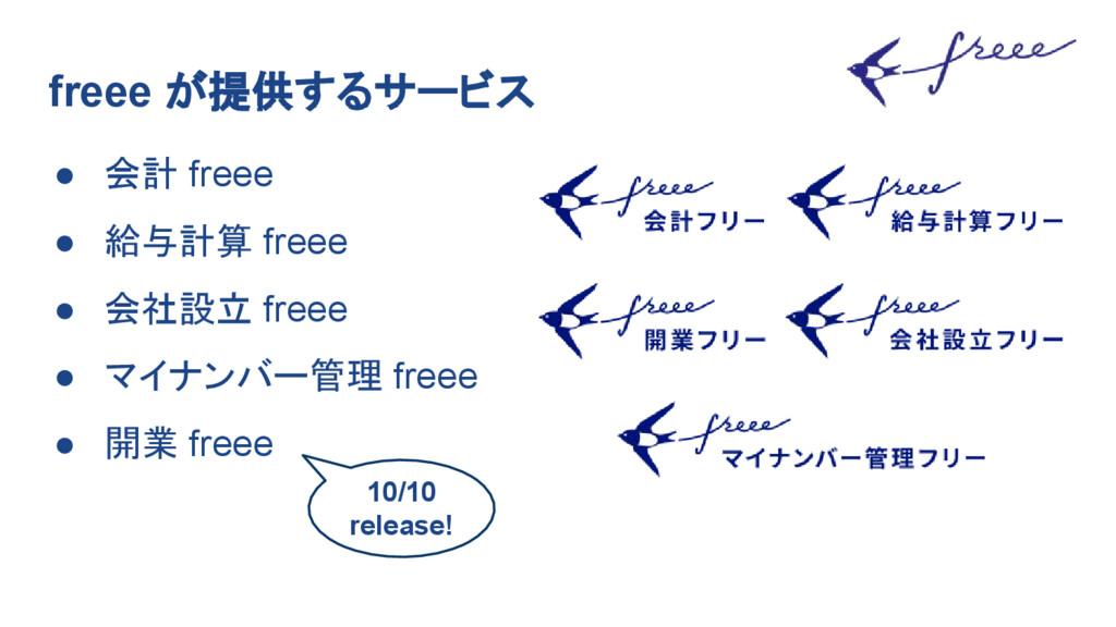 freee が提供するサービス ● 会計 freee ● 給与計算 freee ● 会社設立 ...