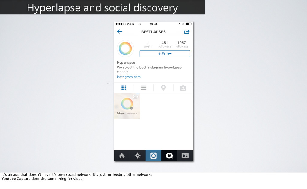 24 Hyperlapse and social discovery It's an app ...