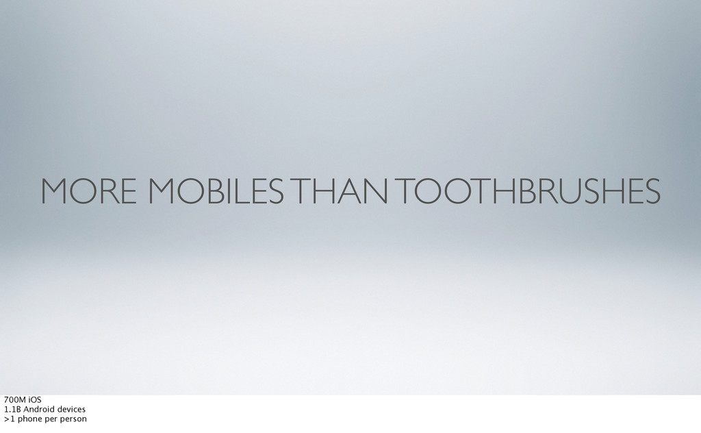 MORE MOBILES THAN TOOTHBRUSHES 700M iOS 1.1B An...