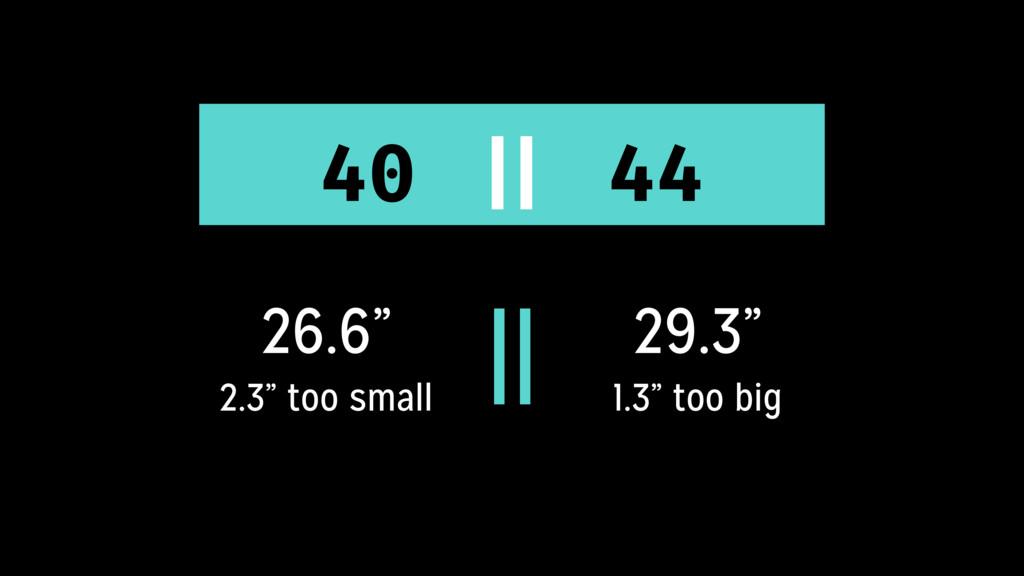 "26.6"" 2.3"" too small 29.3"" 1.3"" too big 40 || 4..."