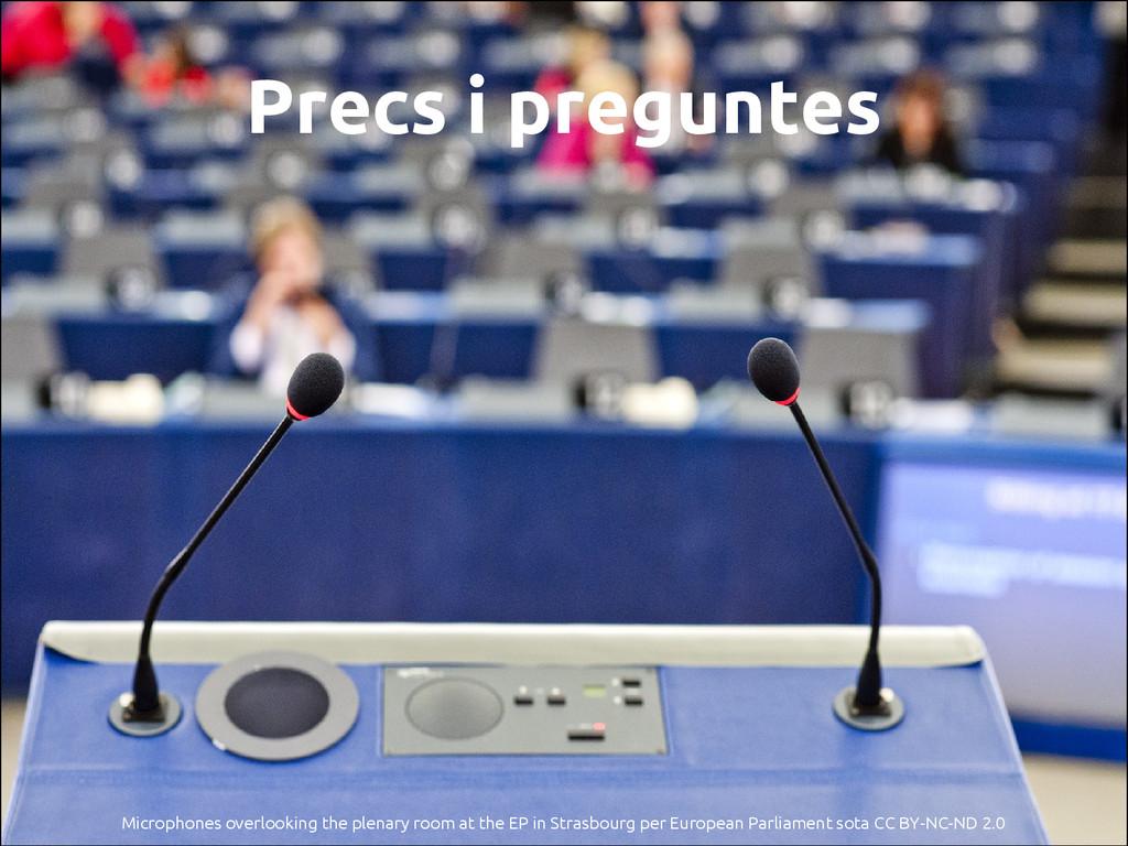 Precs i preguntes Microphones overlooking the p...