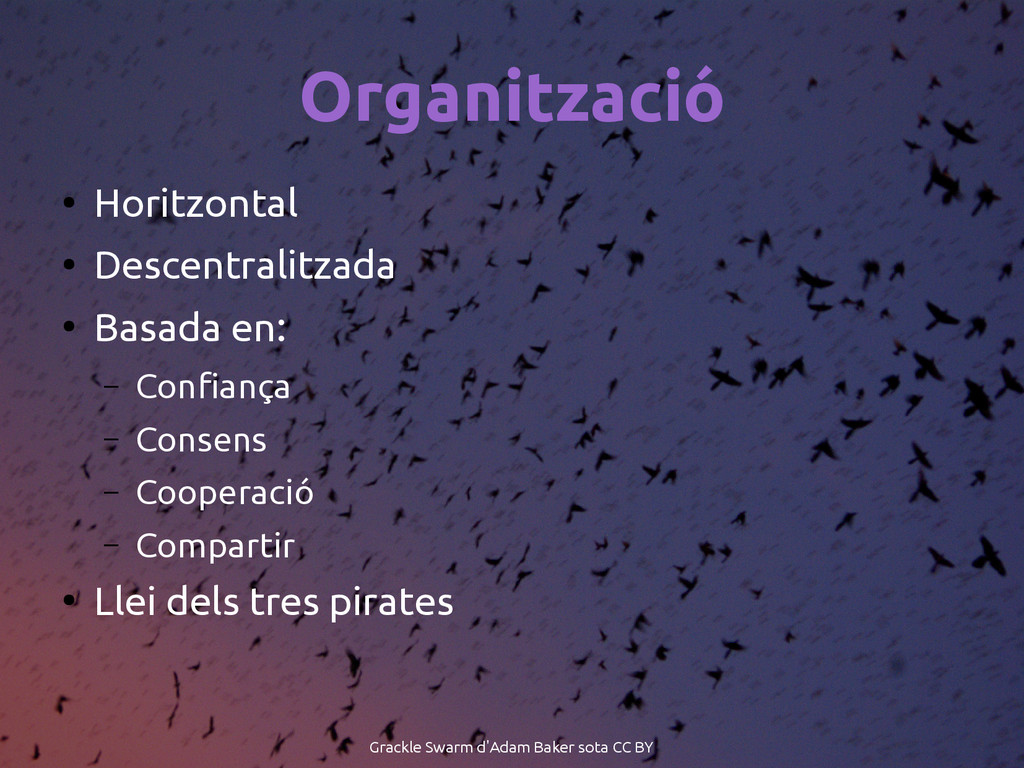 Organització ● Horitzontal ● Descentralitzada ●...