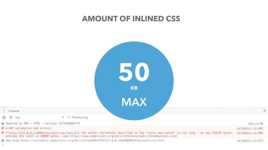 AMOUNT OF INLINED CSS MAX KB 50