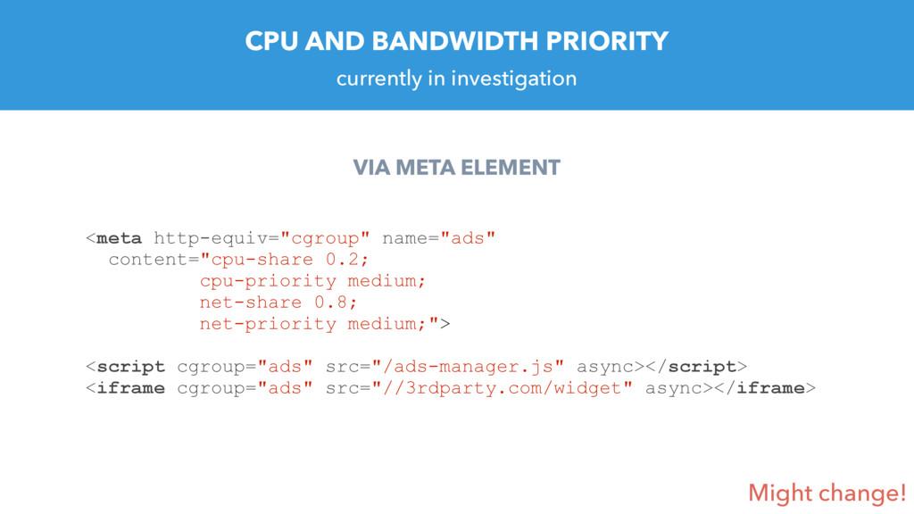 CPU AND BANDWIDTH PRIORITY VIA META ELEMENT <me...