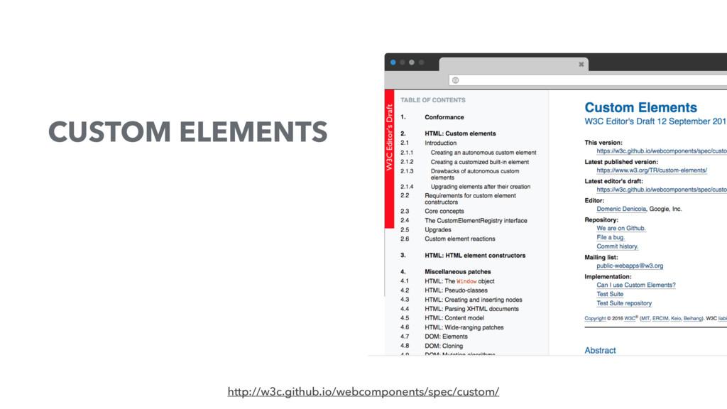 CUSTOM ELEMENTS http://w3c.github.io/webcompone...