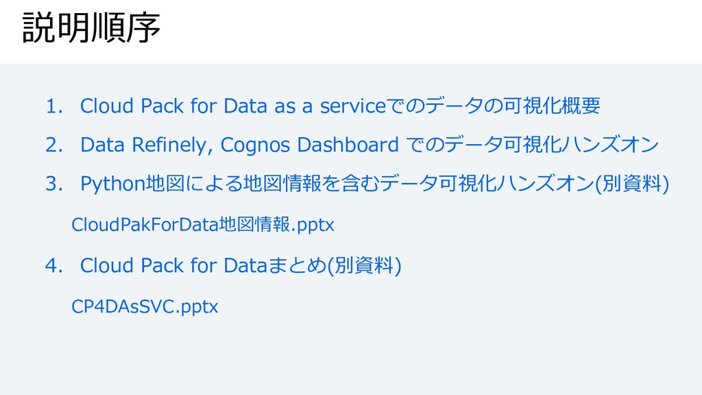 説明順序 1. Cloud Pack for Data as a serviceでのデータの可...