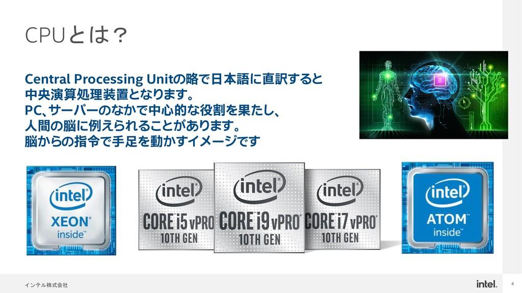 インテル株式会社 4 CPUとは? Central Processing Unitの略で日本語...