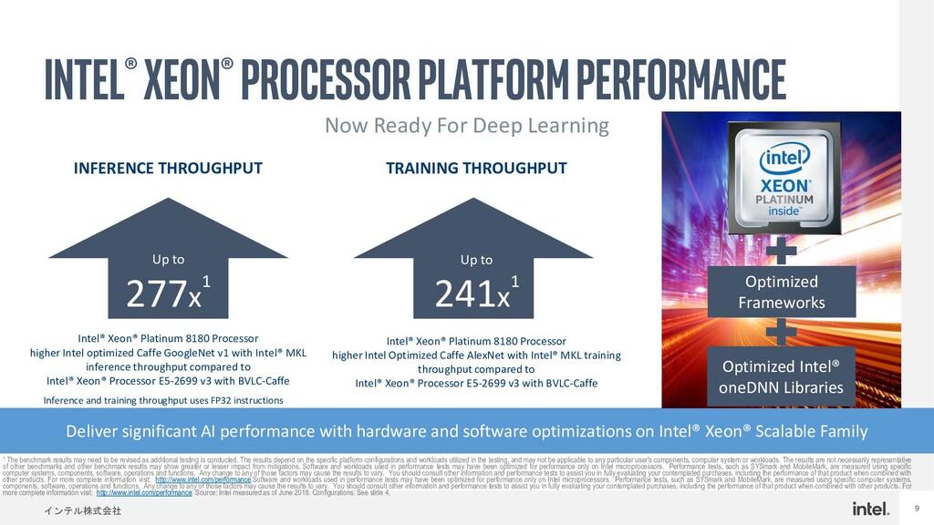 インテル株式会社 9 Intel® Xeon® processor Platform Perf...